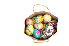 Set of colorful easter egg in paper bag Royalty Free Stock Photo