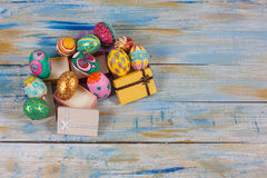 Set of colorful easter egg in small gift box Royalty Free Stock Images