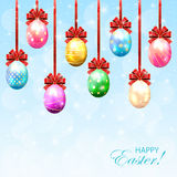 Set of colorful Easter eggs with bow Stock Images
