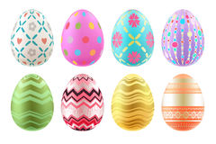 Set of colorful Easter eggs in bright colors. Royalty Free Stock Images