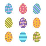 Set of colorful easter eggs decorated stripes, dots and flowers,. Flat vector icon Royalty Free Stock Photos