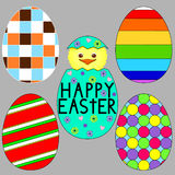 Set of 5 Colorful Easter Eggs Stock Image