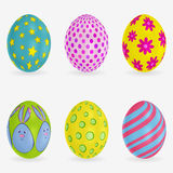 Set of colorful Easter eggs. Different patterns on each. Vector 3d icons. Festive vector illustration for your design. Set of colorful Easter eggs. Different Royalty Free Stock Photo