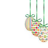 Set of colorful Easter eggs with green ribbons Royalty Free Stock Images