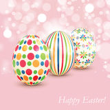 Set of colorful Easter eggs on shiny background Royalty Free Stock Photo