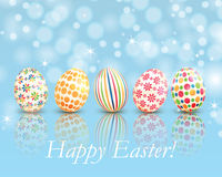 Set of colorful Easter eggs on shiny background Royalty Free Stock Images