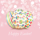 Set of colorful Easter eggs  on shiny background Stock Images