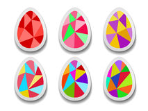Set of colorful Easter eggs of triangles. Royalty Free Stock Photo