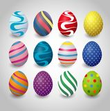 Set of colorful easter eggs on a white background. ILlustration of Halloween Party Background Royalty Free Stock Photos