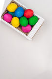 Set of colorful Easter eggs. Set of colorful Easter eggs in a white wooden box Royalty Free Stock Photography