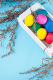 Set of colorful Easter eggs in a white wooden box. On blue backgrounds Stock Images