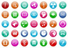 Set of colorful education and science glossy icons. Set of colorful education and science icons Royalty Free Stock Image