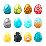 Set of colorful eggs. Vector cartoon style set of colorful eggs, isolated on white background. Game user interface GUI element for video games, computer or web Royalty Free Stock Images