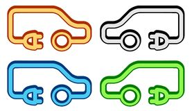 Set colorful electrical vehicle icon Royalty Free Stock Photos