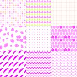 Set of colorful elegant seamless patterns. Universal different vector green seamless patterns, tiling. Endless texture can be used for wallpaper, pattern fills Stock Photos