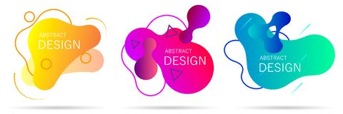 Set of colorful elements, gradient abstract shape for banner stock illustration