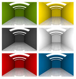 Set of Colorful Empty Room Curve Ceiling Royalty Free Stock Images