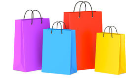 Set of Colorful Empty Shopping Bags, 3d illustration. 3D render, isolated on white background Royalty Free Stock Photos