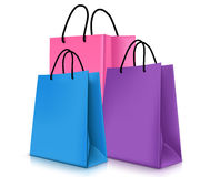Set of Colorful Empty Shopping Bags . Vector Illustration Stock Image