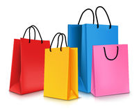 Set of Colorful Empty Shopping Bags . Vector Illustration Royalty Free Stock Photos