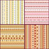 Set of colorful ethnic seamless pattern design Stock Photos