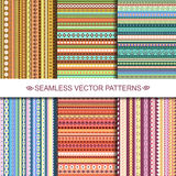 Set of colorful ethnic seamless patterns design Royalty Free Stock Photography