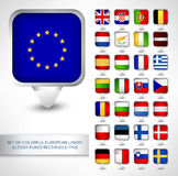 Set of colorful EU glossy flags rectangle pins Royalty Free Stock Photos