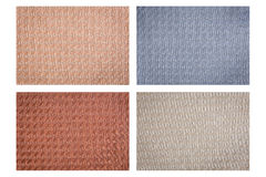 Set of colorful fabric texture isolated on white Royalty Free Stock Images