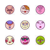 Set of colorful face avatar expression icons Stock Photography
