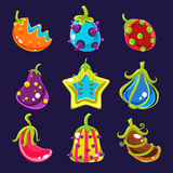 Set Colorful fantasy fruits, vector illustration. Fabulous fruits and vegetables, funny colorful fantasy fruits, vector illustration Stock Images