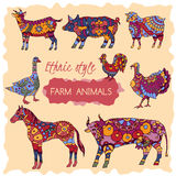 Set of colorful farm animals decorated in ethnic. Style.  Great for farm products and grocery advertising, ethnic festival print products, romantic cards Royalty Free Stock Photography