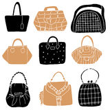 Set of colorful fashion woman bags collection Stock Photos