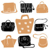 Set of colorful fashion woman bags collection Royalty Free Stock Image