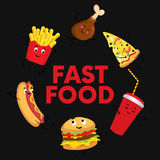 A set of colorful fast food in the form of characters. Hotdog, cheeseburger or hamburger, a glass of soda, French fries, ham. Stock Photo