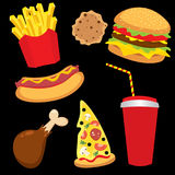 A set of colorful fast food in the form of characters. Hotdog, cheeseburger or hamburger, a glass of soda, French fries, ham. Stock Photos