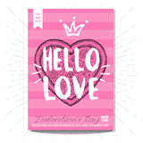 Set colorful fast food posters. Colorful fast food card poster. Hello love, pzza, heart, love, 14 february, Valentine`s Day, romantic, menu. Retro background stock illustration