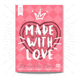 Set colorful fast food posters. Colorful fast food card poster. Made with love, pzza, heart, love, 14 february, Valentine`s Day, romantic, menu. Retro background Royalty Free Stock Images