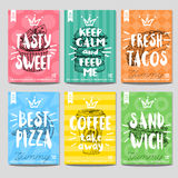 Set colorful fast food posters Stock Images