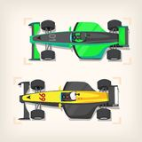 Racing cars on start line. Set of colorful fast motor racing cars on a start line Stock Photos