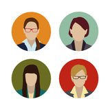 Set colorful female faces flat design Royalty Free Stock Photography