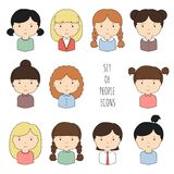 Set of colorful female faces icons. Funny cartoon Stock Photography