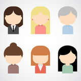 Set of colorful female faces icons. Stock Photography