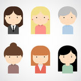 Set of colorful female faces icons. Trendy flat style. Funny cartoon characters. Royalty Free Stock Photography