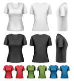 Set of colorful female t-shirts. Royalty Free Stock Photo