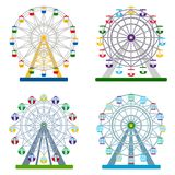 Set of colorful ferris wheels on white background, vector illust. Collection of colorful ferris wheels on white background, vector illustration Stock Images