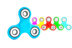 Set of colorful fidget spinners. Fidget spinners with different colors. Very popular toy for distress relief. 3d render illustration Royalty Free Stock Photos