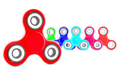Set of colorful fidget spinners. Fidget spinners with different colors. Very popular toy for distress relief. 3d render illustration Stock Photos