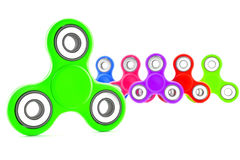 Set of colorful fidget spinners. With different colors Very popular toy for distress relief. 3d render illustration Stock Photo