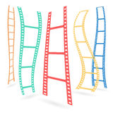 Set of colorful film or camera strips in vertical position. Stock Image