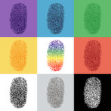 Set of colorful fingerprint Stock Photo